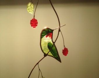 Turned Hummingbird with Berries stained glass suncatcher