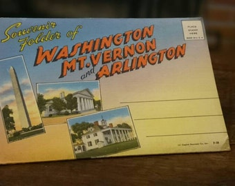 1940's Souvenir Folder of Washington Mt Vernon and Arlington Postcards