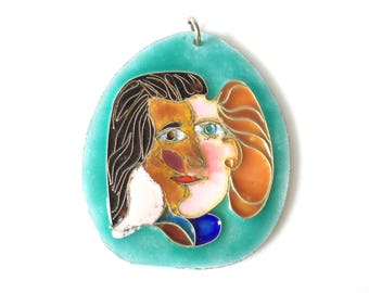 Modernist Abstract Enamel Pendant Signed Pontell / Man And Womens Face