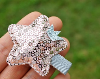 Pink Sequin Star with Mini Crown Hair Clip - pink girl - pink birthday girl gift - flower girl gift idea