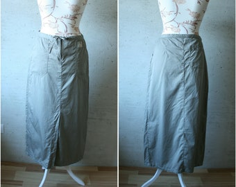 Vintage simple Olive khaki green maxi midi skirt with front slit Cotton Disneyland Paris skirt L size army skirt Low waist women's skirt
