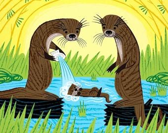 An Otter's Paradise - Children's animal art print - limited edition poster - iOTA iLLUSTRATiON