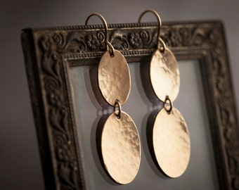 Long Gold Ovals Earrings. Two Hammered Gold Ovals. Long Gold Earrings. 14K Gold Filled Handmade Earrings.