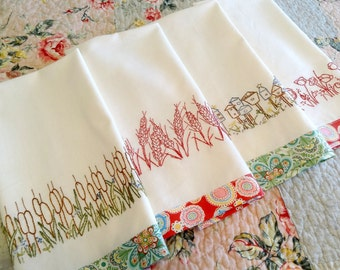 redwork hand embroidery kitchen towels pdf pattern set instant download - Bakers Gonna Bake Kitchen Redwork Embroidery Designs