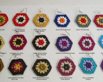 SALE Buy 2 get 1 Free - Boho Chic Granny Hexagon Crochet Earrings - Colorful earrings - Retro Fashion - Granny square earrings