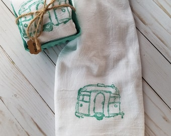 Teal Camper~ Flour Sack ~Kitchen Towel ~ Tea Towel