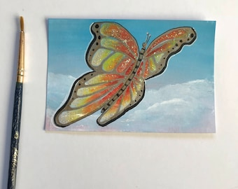 Butterfly original ACEO/ Artists trading card. Mixed media. Free UK delivery.