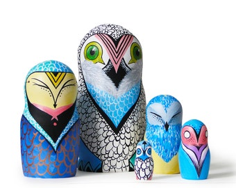 "Owl Family Fantasy Painted Nesting Dolls, 6,6"",  5 pcs"
