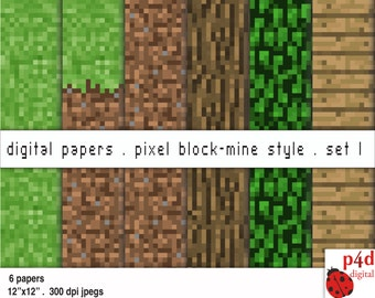 Pixel Block Mine Style Papers - Set 1 - Digital Paper, 300 dpi JPG, Printable, Instant Download