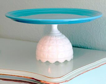 "15"" Cake Stand in Turquoise Blue / Cake Plate Pedestal Ceramic Cake Stand Cake Dish / Turqiuose Turquiose Platter Pedestal"