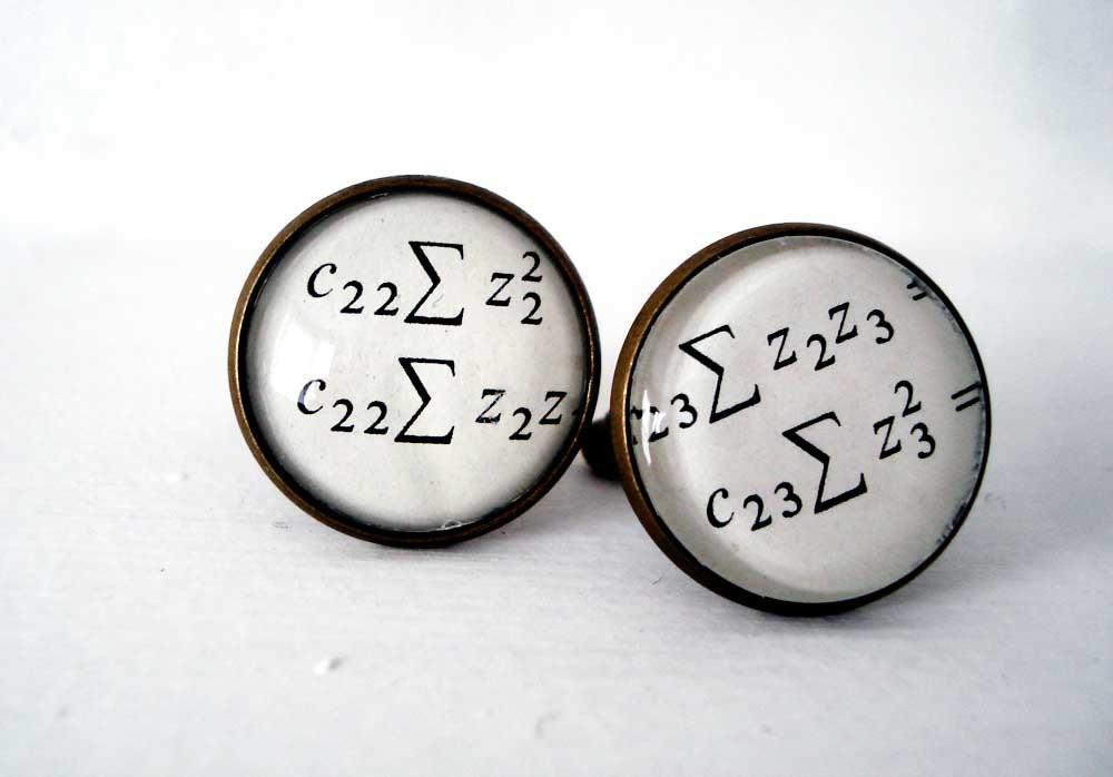 Maths Geek Cufflinks, Equation Cuff Links