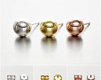 925 Sterling Silver Earrings, Ball Earrings, Dot Earrings, Gold Plated, Rose Gold Plated Earrings, Stud Earrings Size 7 mm (Code : EB75J)