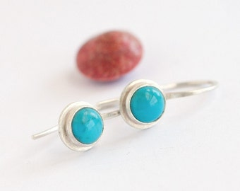 Blue Turquoise Earrings | Brushed Silver Turquoise Earrings | IN STOCK | Modern turquoise earrings