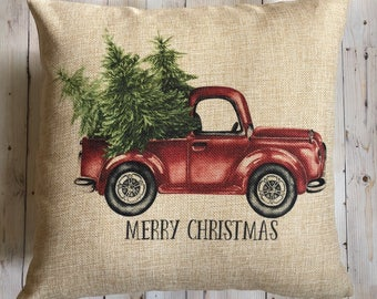Red Truck Pillow- Vintage Christmas Pillow - Farmhouse Pillow - Christmas Decoration - Faux Burlap - 16 x 16 - Holiday Decor - Gift for Her