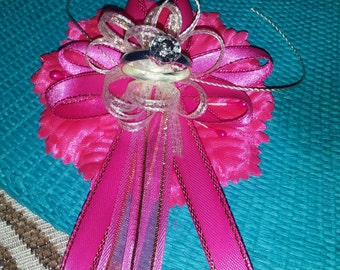 Engagement/bridal shower corsage and 25 pins/capias. custom color