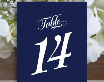 Printable Nautical theme table numbers, waves table numbers, script Table Number, Downloadable, Print it yourself.