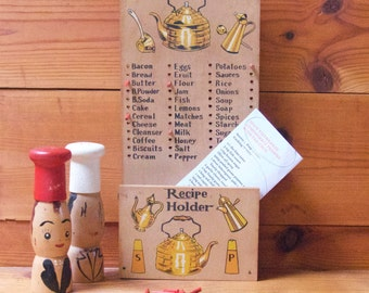 Vintage Retro Wooden Kitchen Shopping Reminder With Pegs/Recipe Holder  Circa late 1950's