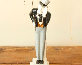 Vintage 1968 I.W. Harper Bourbon Decanter Bowing Man Collector's Figurine with Cane and Top Hat Original Box Bar Display Decor Collectible