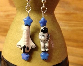 Mini Astronaut and Space Shuttle Earrings
