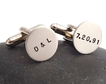 Custom Cuff Links - Personalized Wedding Groom's Gift Best Man's Father's Day Personalized Cuff Links - Initials Date Cufflinks