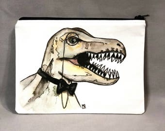 Dapper Dino - Zipper Pouch - Fancy Tyrannosaurs Rex With Bow Tie and Monocle - Art by Marcia Furman