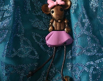Dancing Mouse in pink bow necklace