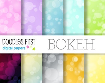 Bokeh Digital Paper Pack Includes 10 for Scrapbooking Paper Crafts