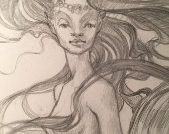 Mermaid #1 Original drawing by Renae Taylor