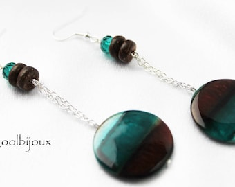 Earrings turquoise Brown coconut shell