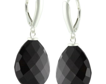 925 Sterling Silver Natural AAA Faceted Pear Black Spinel Leverback Earrings