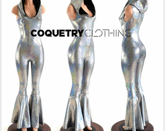 Silver Holographic Sleeveless Hooded Catsuit with Bell Bottom Flares, Hood lined in Black Zen  152880