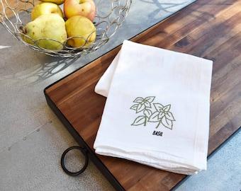 Herb - Kitchen Towels - Basil, Sage, Dill or Oregano Dish Towels, Tea Towels, Flour Sack Kitchen Towels, Kitchen Decor