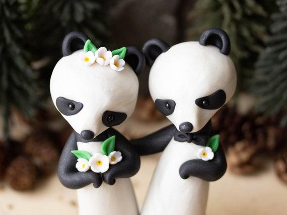 Panda Bear Wedding Cake Topper by Bonjour Poupette