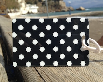 2 Polka Dot Bag Tags , Travel Accessories, Vacation Accessories, Themed Holdall Tags, Novelty Suitcase Tags, Airline Luggage Tags