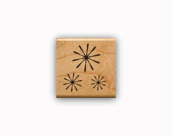 Starburst Mounted rubber stamp fireworks, celebration, flowers, retro stars, snow flakes, snowflakes, Sweet Grass Stamps #23
