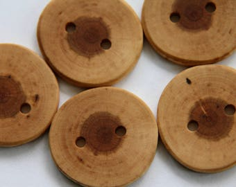 5 medium light coloured cherry buttons 1-3/8""