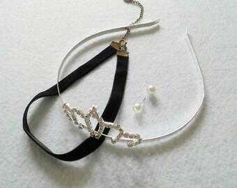 Cinderella Accessories Set of Headband, Choker and Earrings. New Look.