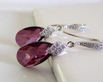 Purple Crystal Earrings, Lilac Bridal Earrings, CZ Sparkle, Lilac Purple Bridesmaids Earrings, Crystal Drop Earrings