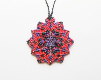 Mandala Macrame Purple Necklace. Boho Spiritual Flower