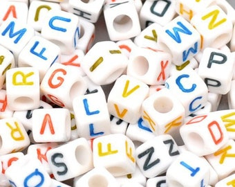 100 white cubes with letters colors 6 mm beads