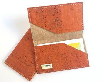 Cork business card case, orange cork fabric. Card case. Card holder. Stocking stuffer.