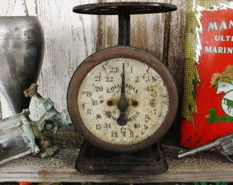 Antique Scale/Rustic Home Decor/Farmhouse Kitchen Decor/Columbia Family Scale 24lb McIntosh Hardware Rusty Chippy Early 1900's Scale/Vintage