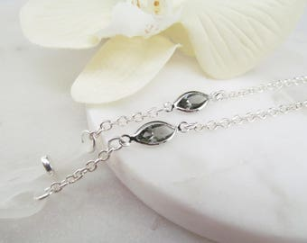 Silver Eyeglass Chain with Gray Swarovski; Reading Glasses Necklace; Eyeglass Holder; Silver Glasses Chain; Cord for Readers; Glasses Leash
