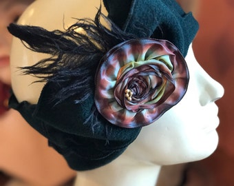 Flapper Headband - Twenties Style- Polar Fleece- Madeline- Forest Green