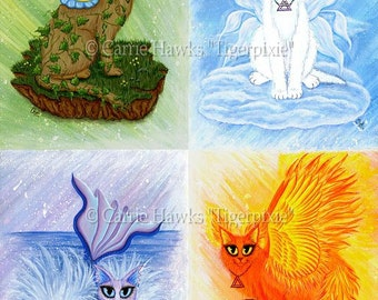 Fairy Cat Art Original Cat Painting Elemental Cats Earth Air Water Fire Elements Fairy Fantasy Cat Art Original Canvas Painting 16x20