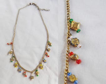 Vintage Indian charm necklace -- ethnic, tribal, colorful, gold chain, gold charms, boho, bohemian