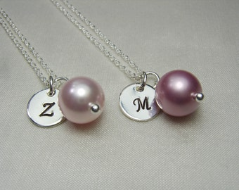 Bridesmaid Necklace Set of 6 Bridesmaid Jewelry Pearl Monogram Necklace Bridesmaid Gift Initial Necklace Personalized Spring Wedding Jewelry