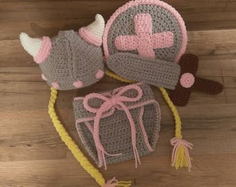 Crochet Baby Viking Diaper Cover & Hat - Viking Outfit - Viking Warrior Princess Costume - MADE TO ORDER - Baby Photo Prop