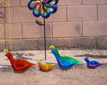 Upcycled Copper Anodized Quail Family, Anodized Copper Quails, Metal Quail Yard Art