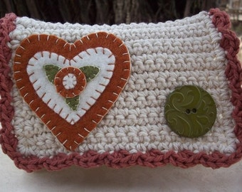 Crocheted Purse  ~  Ecru Rust and Olive Green with Heart Crocheted Little Bit Purse